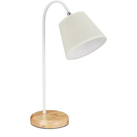 Lampe de table, rustique avec abat-jour, douille E27, pour la nuit,HlP 51x17x33,5 cm, beige