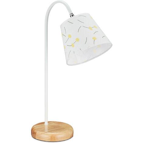 Lampe de table, rustique avec abat-jour, douille E27, pour la nuit,HlP 51x17x33,5 cm, blanc