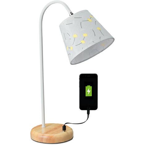 Lampe de table, rustique de bureau avec connexion USB,E27,style campagne; HP51x17x32,5 cm, blanc