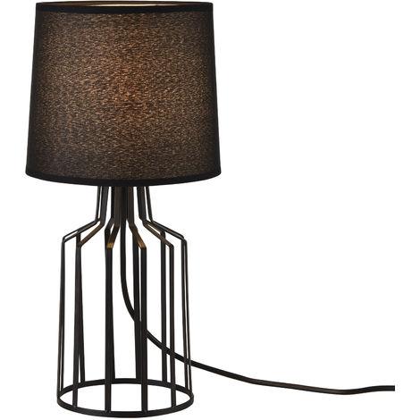 Lampe de Table Salon Bureau E14 Métal et Textile Hauteur 38,5 cm Diamètre 18 cm Noir