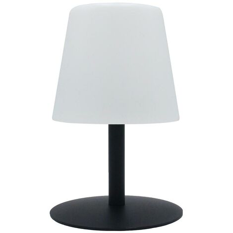 Lampe de table sans fil pied en acier noir LED blanc chaud/blanc dimmable STANDY MINI Dark H25cm
