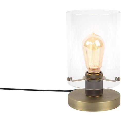 Lampe de table scandinave bronze avec verre - Dôme Qazqa Moderne Luminaire interieur Cylindre / rond
