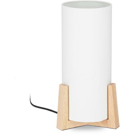 Lampe de table socle bois lampe de chevet abat-jour blanc tissu design vintage, HxD: 33 x 15 cm, blanc/nature