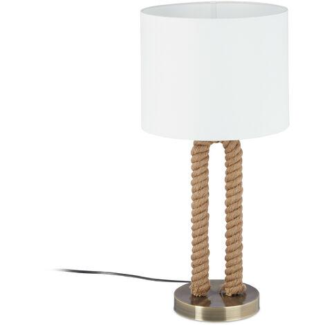 Lampe de table socle cordage amarre lampe de chevet abat-jour blanc tissu maritime, HxD: 52 x 25cm, blanc/brun