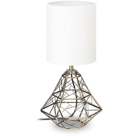 Lampe de table socle forme géométrique métal lampe de chevet abat-jour blanc HxlxP: 38 x 20 x 20 cm, blanc