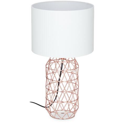 Lampe de table socle grille rose or métal lampe de chevet abat-jour blanc tissu HxD: 45 x 25 cm, blanc/rose-or
