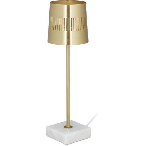 Lampe de table, socle marbre, abat-jour métal, G9, salon, chambre à coucher, moderne, HxD 39x11,5cm, dorée