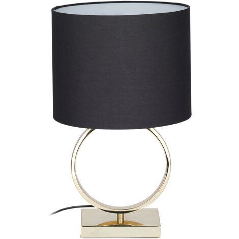Lampe de table socle or métal lampe de chevet abat-jour noir tissu design HxD: 46 x 28 cm, noir/doré