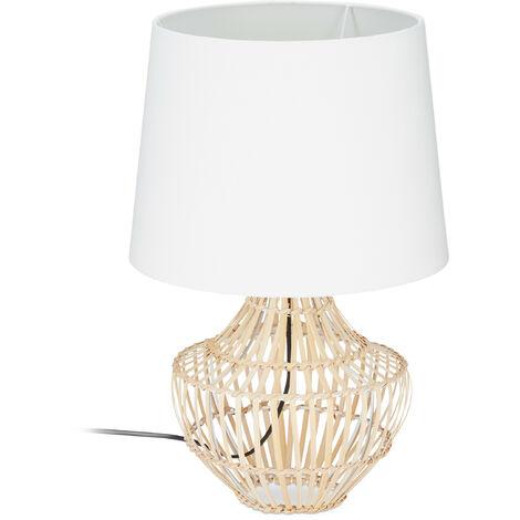 Lampe de table socle rond bambou corbeille lampe de chevet abat-jour blanc tissu H x D: 50x30 cm, blanc/nature