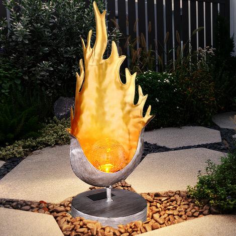 Lampe de table solaire à LED Lampe design de flamme crépitement Boule de verre Lumière Jardin Éclairage extérieur