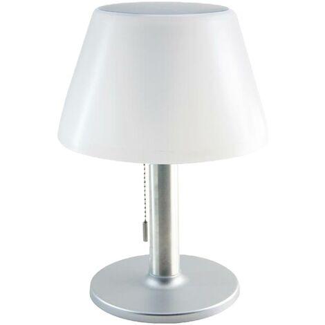 """main image of """"Lampe de table solaire LENNY blanc acier H28cm"""""""