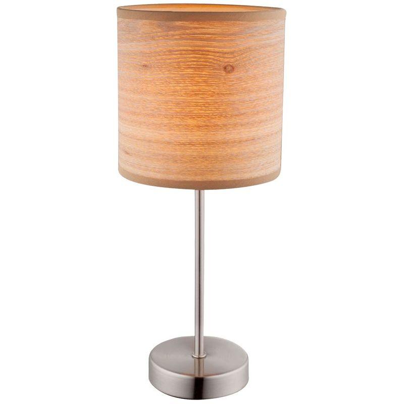 Lampe de table Textil, bois brun optique, H 35 cm, AMY II