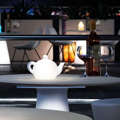 Lampe de table théière Led RGB à batterie My Tea LYXO - Led RGB - Utilisable en extérieur et en intérieur - Sans fil - batterie rechargeable