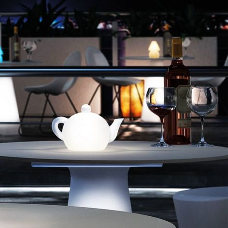 Lampe de table théière Led RGB à batterie My Tea LYXO - Lumineux Blanc - Utilisable en extérieur et en intérieur - Sans fil - batterie rechargeable