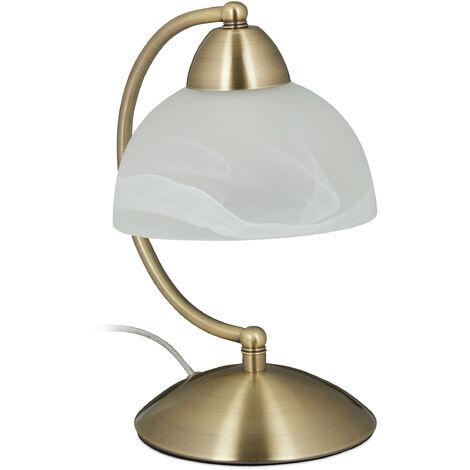 Lampe de table vintage, tactile, verre et fer, réglable,décoration,E14, 230 V;HlP 25x15x19cm,laiton