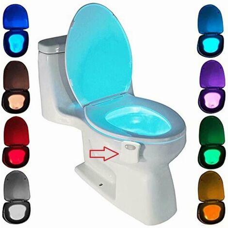 Lampe de Toilette, Veilleuse LED pour WC Salle de Bain Capteur Détecteur PIR 8 Changement de Couleurs Éclairage (seulement s'active dans l'obscurité)