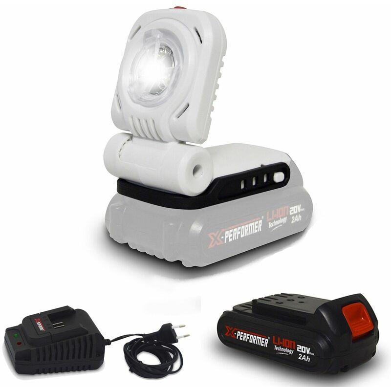 Lampe de travail - Jardinage à batterie 20V - X-Performer XPSPL20LI à Eclairage LED 3W + Batterie 2 Ah et chargeur