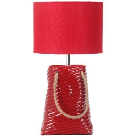 Lampe décorative à poser céramique rouge Éclairage d'interieur