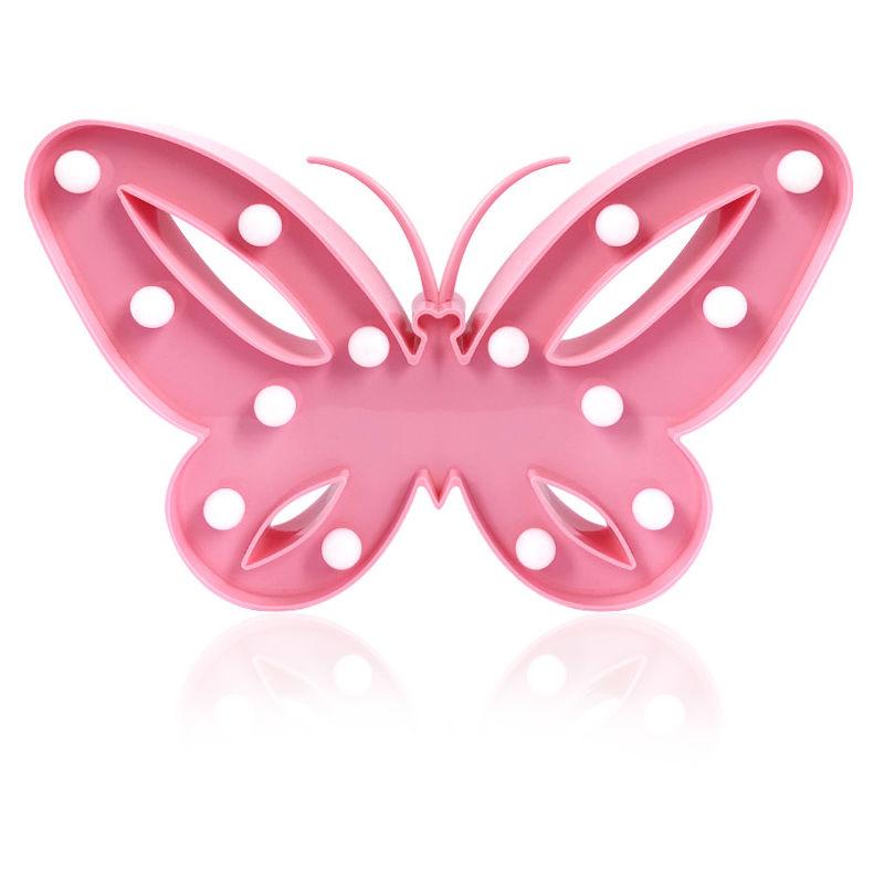 DécorativePapillon À Led Rose Lampe Lumineux 4Lj3A5qR