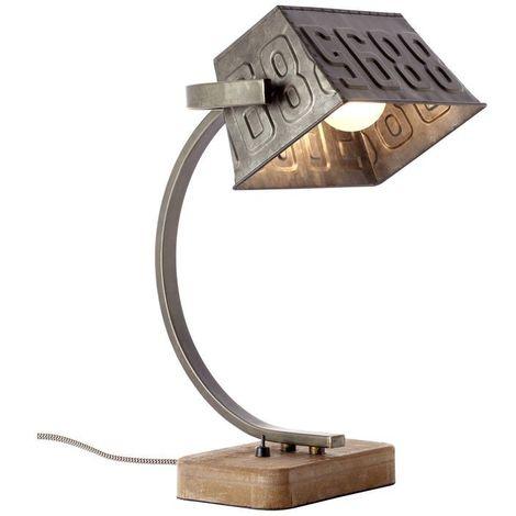 Lampe DRAKE 1x40W E27 Bois et métal patinés