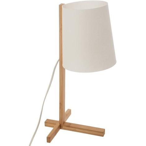 Lampe en bambou & abat-jour en plastique - E14 - 41 cm
