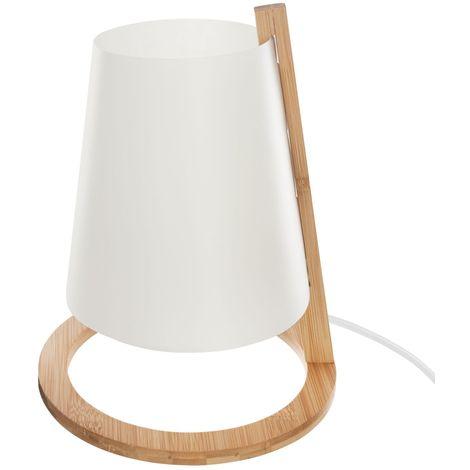 Lampe en bambou Scandi - Diam. 20 cm - Blanc - Blanc