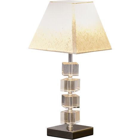 """main image of """"Lampe en cristal - lampe de table design contemporain - Ø 20 x 47H cm - abat-jour polyester blanc beige"""""""
