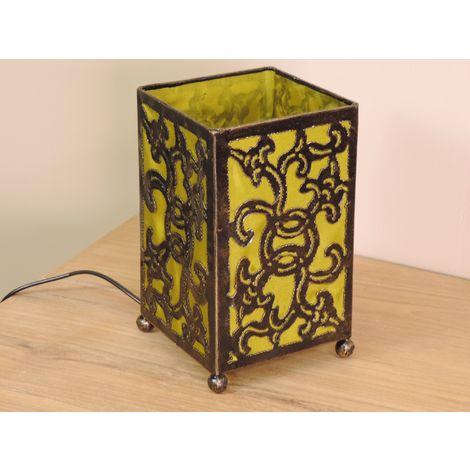 Lampe en fer forgé rectangle olive 12 cm hauteur 20 cm