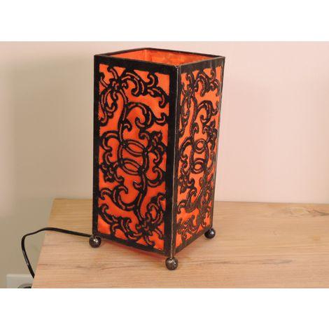 Lampe en fer forgé rectangle orange 14 cm hauteur 30 cm