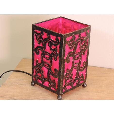 Lampe en fer forgé rectangle rose 12 cm hauteur 20 cm