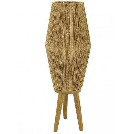 Lampe en jute et pied en bois , naturel - ø 21 x h 61 cm -PEGANE-