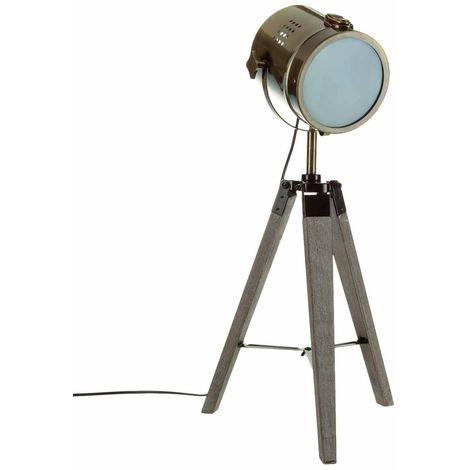 Lampe en métal et bois Ebor - H. 68 cm - Bronze - Marron