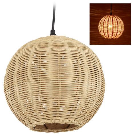 Lampe en rotin, abat-jour aspect tresses, Cuisine, chambre à coucher et salle à manger, E27,HxD126x22cm, natur