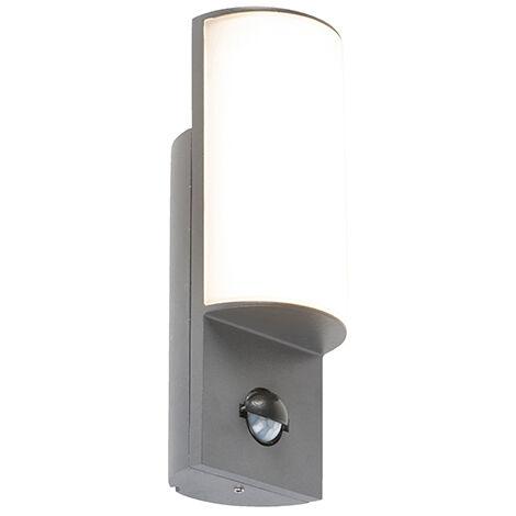 Lampe extérieure Moderne Graphite / Antracite / Gris Foncé avec détecteur de mouvement incl. LED - Harry Qazqa Moderne Luminaire exterieur IP44
