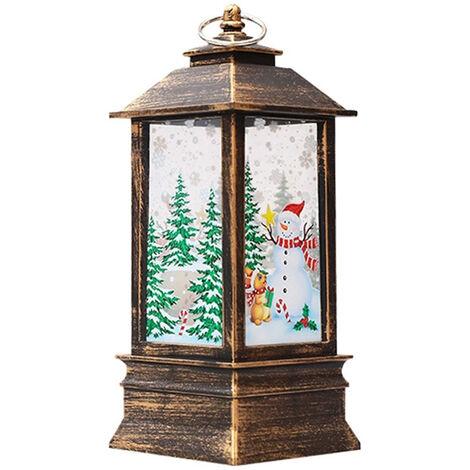 Lampe flamme de Noel lampe bougeoir lumiere blanc chaud, modele bonhomme de neige en bronze (grande taille)