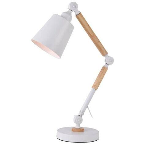 Lampe Flexo Architecte EDM Vintage en bois E27 Blanc 60W
