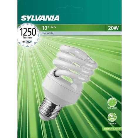 LAMPE FLUO COMPACTE SPIRALE E27 20W 4000K BL1 SYLVANIA 0035207