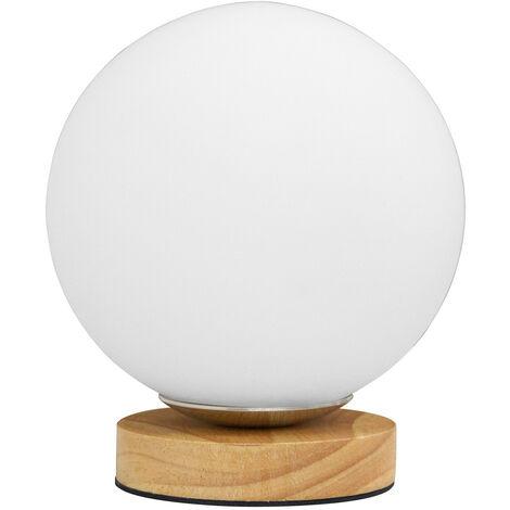 Lampe globe sur socle bois - Moon Bois naturel
