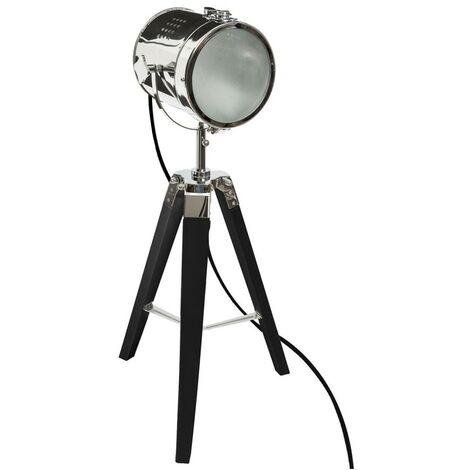 Lampe industrielle métal et bois EBOR H68 cm noir - Noir