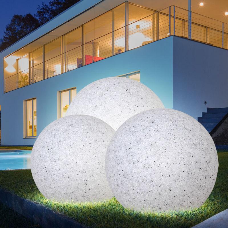 Lampe jardin luminaire extérieur boule lumineuse granit pierre décoration  IP65