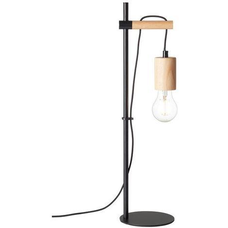 Lampe JENJI 1x60W E27 Bois naturel-Noir