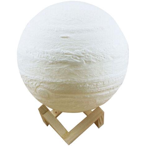 Lampe Jupiter Impression 3D Lampe de Lune (Blanc / Jaune) avec Cable de Chargement USB Touch Double Couleur 10cm Support en Bois Massif