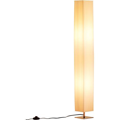 Lampe lampadaire colonne sur pied moderne lumière tamisée 40 W 14L x 14l x 120H cm inox blanc - Blanc