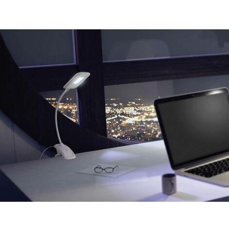 Lampe LED à pince Polarlite 4.5 W intensité variable, bras flexible blanc