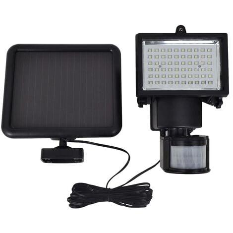 Lampe LED d'extérieur à alimentation solaire à capteur Noir