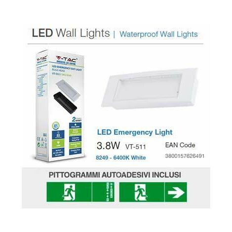 Vt Encastrée Tac 8w Ip20 Boîte – 110lm Lampe Sku V Avec Anti 3 511 Blackout Led 8249 D'urgence QdCxtrshB