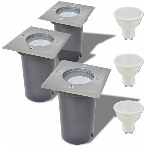 Lampe LED encastrable au sol d'extérieur 3 pièces Carré