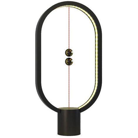 Lampe LED Heng en plastique noir avec interrupteur magnétique - Allocacoc