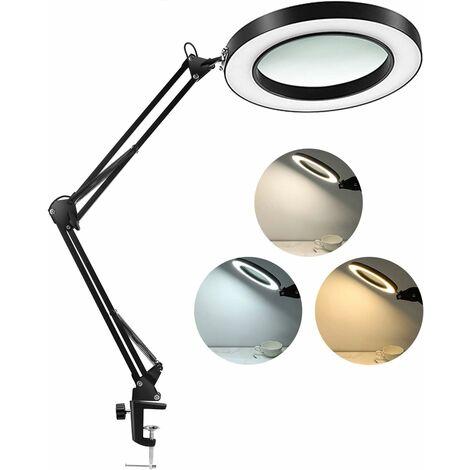 Lampe loupe à LED avec pince, intensité variable en continu de 1500 lumens, 3 modes de couleur, lentille en verre véritable de 4,3 pouces à 5 dioptries, bras pivotant réglable, lampe de loupe éclairée pour la lecture artisanale Fermer Work-2.25X