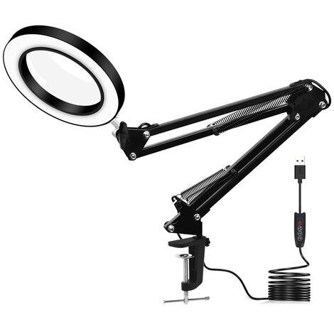 Lampe Loupe USB 5X Loupe 60 SMD LED 3 Modes Pour Lecture Travail Réparation